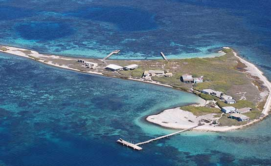 Aerial view of Beacon Island in the Houtman Abrolhos