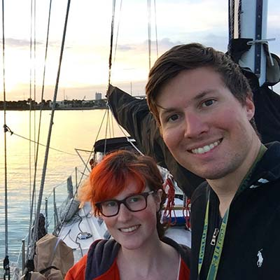 Herb and Maddie Benavent aboard sailing vessel Wisdom