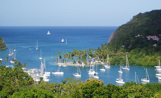 sailboats moored in the bay at St. Lucia island